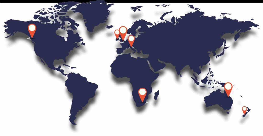 Carte des universités partenaires de l'école de design ESDAC