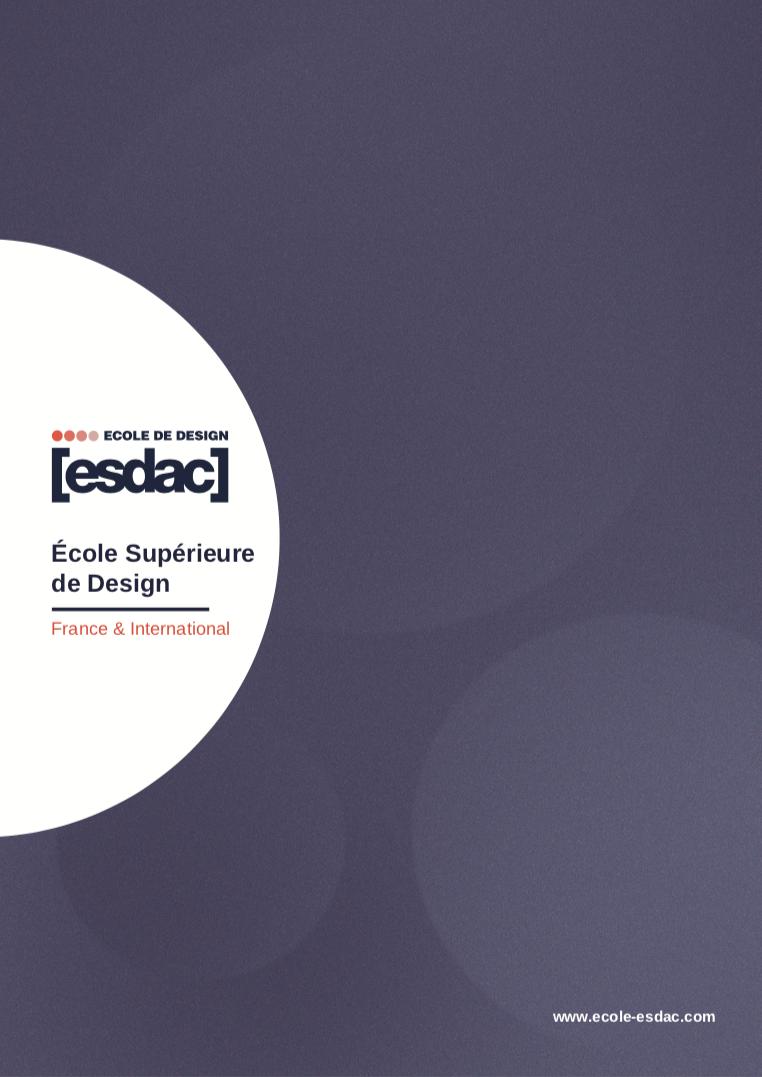 Brochure de l'école de design ESDAC 2020