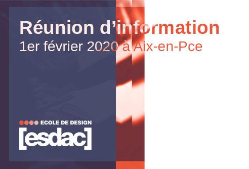 Réunion d'information exceptionnelle avec des conférences en design dans l'école de design ESDAC d'Aix-en-Provence