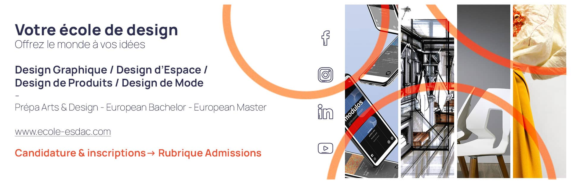 Ecole de design ESDAC en 2021, candidatures et inscriptions