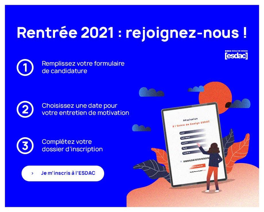 Rejoindre l'école de design ESDAC à Rennes et Strasbourg